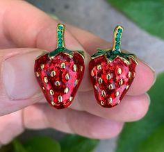 Strawberry Farm, Silver Bangle Bracelets, Heart Locket, Vintage Earrings, 1950s, Period, Berries, Household, Enamel