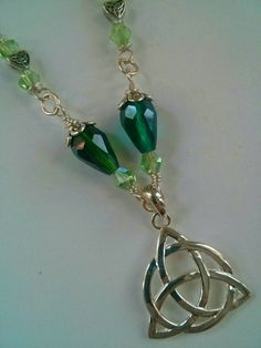 Celtic Trinity Knot Pendant, Irish Jewelry, Green and Silver Necklace, Handmade Jewelry, Statement Piece, Saint Patrick's Day Jewelry