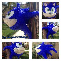 Sonic the hedgehog custom hand made Sonic piñata Sonic the Hedgehog Birthday Party by angela's pinata's on Etsy. Www Facebook.com/angelaspinatas