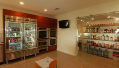 Sipo Mahogany Kitchen. Glass door commercial freezer/fridge