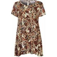 Brown Paisley Print Smock Dress ($17) ❤ liked on Polyvore featuring dresses, brown, smock dress, reversible dress, paisley print dress, short-sleeve dresses and print dress