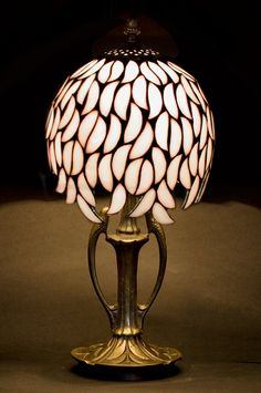Tiffany table lamp. Willow stained glass lamp. Simple glass lamp. White lampshade. Small decorative lamp.