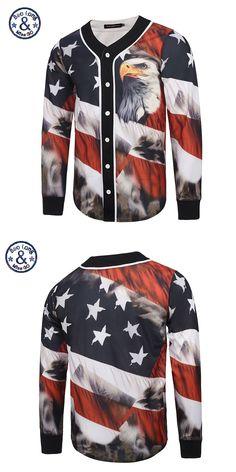 2017 Mr.BaoLong&Miss.GO Hip Hop 3D Men Jacket Printed Flag Eagle Mens baseball jersey Casual Cardigan jaqueta masculina Homme