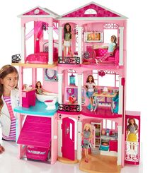 New Mattel Barbie 3 Story Pink Furnished Doll Town house Dreamhouse Townhouse #Mattel