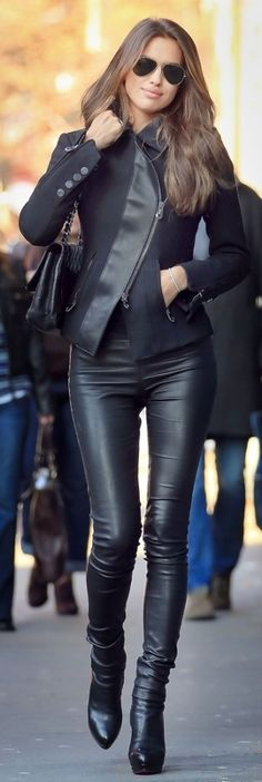 Slick leather jacket