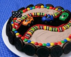 Race car cheesecake- typical little boy birthday cake