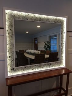 Items similar to Lighted Mirror With Glass on Etsy Backlit Mirror, Lighted Vanity Mirror, Wood Framed Mirror, Led Mirror, Mirror With Lights, Custom Mirrors, Home Gadgets, Custom Lighting, Hand Designs
