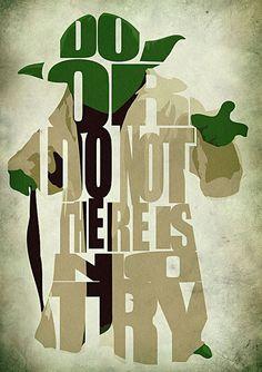 Star Wars Yoda Poster - Kunstdruck von minimalistischen Illustration der Typografie & Poster