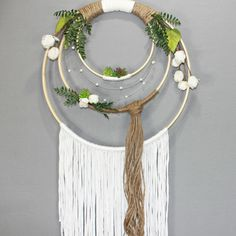 Large white dream catcher, Gypsy style decor, Bohemian wall art, Modern dreamcatcher, Romantic bedroom, Home decor, Faux succulents, Blooms by KefiLane on Etsy