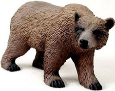 "Amazon.com: Custom & Unique {5"" Inch} 1 Single, Home & Garden ""Standing"" Figurine Decoration Made of Resin w/ Realistic North American Grizzly Bear Style {Brown & Black Color}: Home & Kitchen"