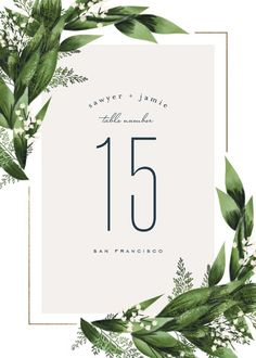 """Diamante"" - Foil-pressed Wedding Table Numbers in Forest by Leah Bisch."