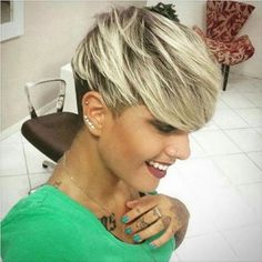 Pixie with long bangs and highlighted strands 1