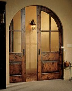 Pocket doors, so nice to tuck the doors away like they aren't there. Much more inviting than showing the doors and the option of closing off the room. The Doors, Windows And Doors, Sliding Doors, Entry Doors, Arched Doors, Patio Doors, Front Entry, Arched Interior Doors, Arch Interior