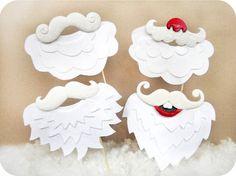 4 Santa moustaches barbes sur bâtonnets - vacances Noël Photo Booth les accessoires jeu de 4