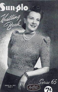 1940s Vintage PDF Knitting Patterns - PDF Copy of Sun-glo Knitting Booklet Series 65