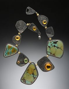 Chinese turquoise, hollow oxidized silver beads, citrine, tsavorite garnet cabochons set in18K.  HUGHES-BOSCA JEWELRY | NECKLACES