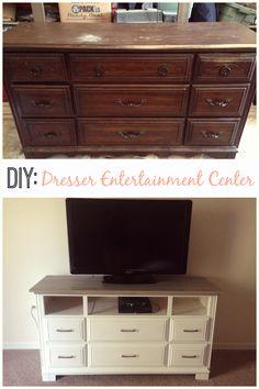 DIY dresser to entertainment center. thrift store find or free on craigslist.