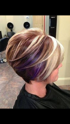 Unique short hairstyle colors for your hair Hair color is as important as your hair and if you want to achieve a new stylish look for your hair, you should Line Bob Haircut, Haircut And Color, Reverse Bob Haircut, Stacked Bob Hairstyles, Cute Hairstyles, Short Haircuts, Medium Hairstyles, Hairstyle Ideas, Hairstyles 2018