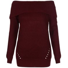 Fashion Union Burgundy Bardot Fisherman Knit Jumper ($31) ❤ liked on Polyvore featuring tops, sweaters, knit sweater, long sleeve knit sweater, red jumper, cutout sweater i burgundy top
