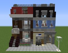 Lego Pet Shop - GrabCraft - Your number one source for MineCraft buildings, blueprints, tips, ideas, floorplans! Minecraft Villa, Minecraft Shops, Minecraft City Buildings, Modern Minecraft Houses, Minecraft Castle, Minecraft House Designs, Minecraft Architecture, Minecraft Creations, Minecraft Ideas