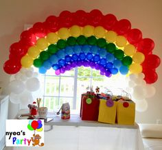 Beautiful rainbow colors Balloon arch fits nicely over a table This balloon arch requires on site set up. The price does not include delivery charge of $2.00 per mile from store to site.