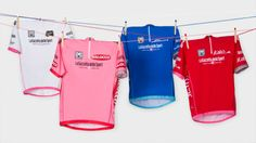 The four leaders' jerseys designed by Paul for the world famous 2013 Giro d'Italia