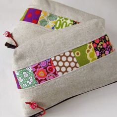 Linen and patchwork pouch