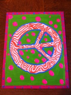 Art Canvas and Paint Peace Sign Peace Sign Art, Peace Signs, Hippie Peace, Hippie Art, 7th Birthday Party Ideas, 8th Birthday, Painting For Kids, Art For Kids, Hello Kitty Art