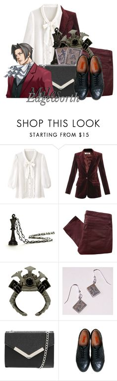 """""""Miles Edgeworth from Phoenix Wright: Ace Attorney"""" by ouro-asunder ❤ liked on Polyvore featuring Freda, Helmut Lang, Miz Mooz, videogame and phoenixwright"""