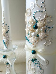 GORGEOUS Wedding unity candle set - 3 candles and 2 candleholders in ivory, gold and teal, wedding unity ceremony