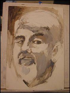 My Chalk acrylic Portrait, Titian's Technique