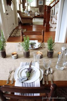 Rosemary plant centerpieces