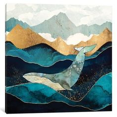 Art And Illustration, Art Inspo, Kunst Inspo, Whale Canvas, Whale Art, Blue Whale Drawing, Abstract Canvas, Canvas Artwork, Ocean Artwork