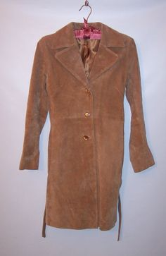 Anchen B Genuine Leather Suede Womens Beige Soft Coat  Size XS  #AnchenB #BasicCoat