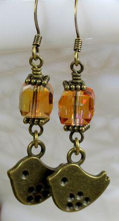 Topaz Amber Glass Crystal Beaded Dangle Earrings, November Birthstone Earrings, Unique Jewelry Gift For Women, For Her.