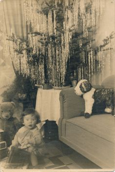 Vintage Photograph Favorite from Collection Full Toys Classic Beauty Bear Christmas Tree Images, Vintage Christmas Photos, Christmas Past, Vintage Holiday, Christmas Pictures, Christmas Morning, Christmas Stuff, Xmas, Antique Photos