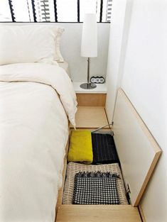 Cute diy bedroom storage design ideas for small spaces 17 Craft Storage Ideas For Small Spaces, Storage Spaces, Creative Storage, Space Saving Storage, Interior Design Ideas For Small Spaces, Small Rooms, Small Apartments, Small Room Layouts, Plataform Bed
