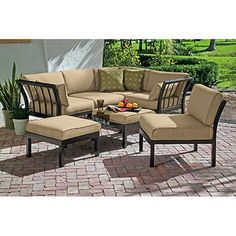 Outdoor Patio Sectional Stylish Furniture Sofa Set Seats Deep Seating For Sale Sectional Patio Furniture, Sectional Furniture, Patio Furniture Sets, Sectional Sofa, Sofa Seats, House Furniture, Furniture Ideas, Small Sectional, Furniture Design