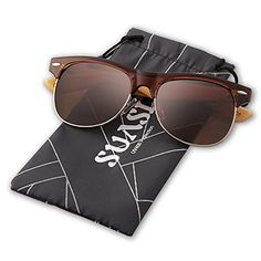 Suasi Full Mirrored Aviator Sunglasses with Half Frame Bamboo Legs for Mens Womens Wooden Sunglasses Zm00140 brown -- Click image to review more details.