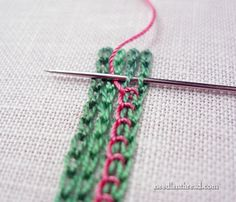 I ❤ embroidery . . . If you're doodling about with hand embroidery stitches, and you're looking for a way to create a wide line with a bit of added interest to it, you might like this simple combination of chain stitch and buttonhole stitch.