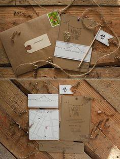 Kraftpapier mit Wegbeschreibung