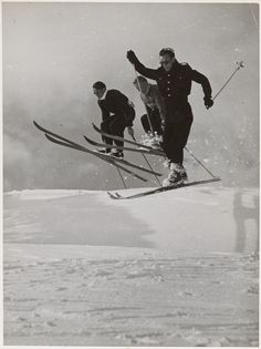Three men ski jumping, Snowy Mountains Region, New South Wales, ca. Alpine Skiing, Snow Skiing, Vintage Ski, Vintage Travel Posters, Bw Photography, Vintage Photography, Suspended Animation, Ski Posters, Ski Jumping