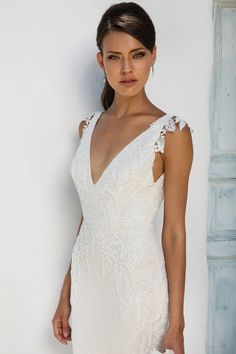 Justin Alexander Romantic Chantilly Lace Gown with Beaded Lace Appliqués, V-Neck and Deep V-Back