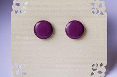Tyrian purple Studs purple stud earrings purple от JewelryBest