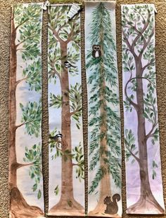 Hand Painted Grow Chart Trees