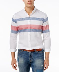 Tommy Hilfiger Men's Blakely Striped Cotton Shirt In Classic White Tommy Shirt, T Shirt, Shirt Men, Classic White, Casual Button Down Shirts, Shirt Style, Tommy Hilfiger, Menswear, Cotton
