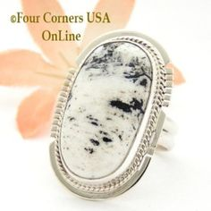 Size 7 1/2 White Buffalo Turquoise Sterling Silver Ring Navajo Artisan Larson L Lee NAR-1824 Four Corners USA OnLine Native American Jewelry