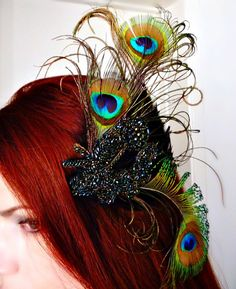 Peacock Feather Fascinator Headdress with Antique by RoseoftheMire, $86.00