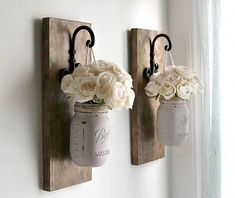Farmhouse Wall Decor - Rustic Wall Sconces - Pair of Sconces Everyday Home Decorations - Hanging Mason Jars - Housewarming Gift - Rustic Wall Sconces-Rustic Wall Decor-Mason Jars Sconce-Farmhouse Wooden Wall Decor-Rustic Home Decor-Wall Hanging Decor - Mason Jar Wall Sconce, Hanging Mason Jars, Rustic Mason Jars, Hanging Pots, Rustic Wall Sconces, Rustic Walls, Rustic Wall Decor, Country Decor, Bathroom Sconces