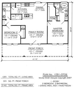 Small House 2 Bedroom Floor Plans Two bedroom house plans 1 Bedroom House Plans, Garage House Plans, House Plans One Story, Story House, Small House Floor Plans, Cabin Floor Plans, The Plan, How To Plan, Br House